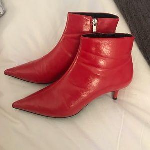 Red Kitten Heel Bootie